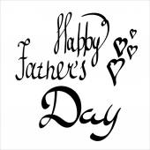 Happy Fathers Day with Hearts. Vector hand-written lettering, t-shirt print design, typographic composition isolated on white background.
