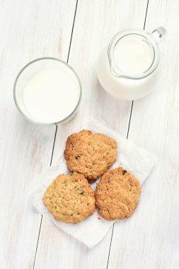 Healthy breakfast oats cookies and milk