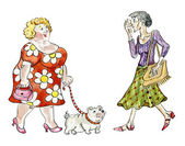 Fat woman with dog walking meeting thin lady