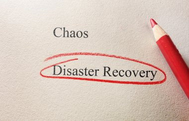 Red pencil circle around Disaster Recovery text stock vector