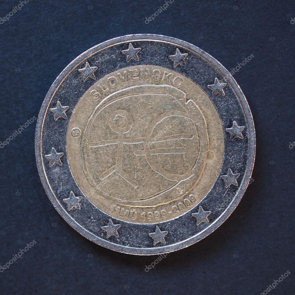 2 Euro Münze Aus Der Slowakei Stockfoto Route66 96744834