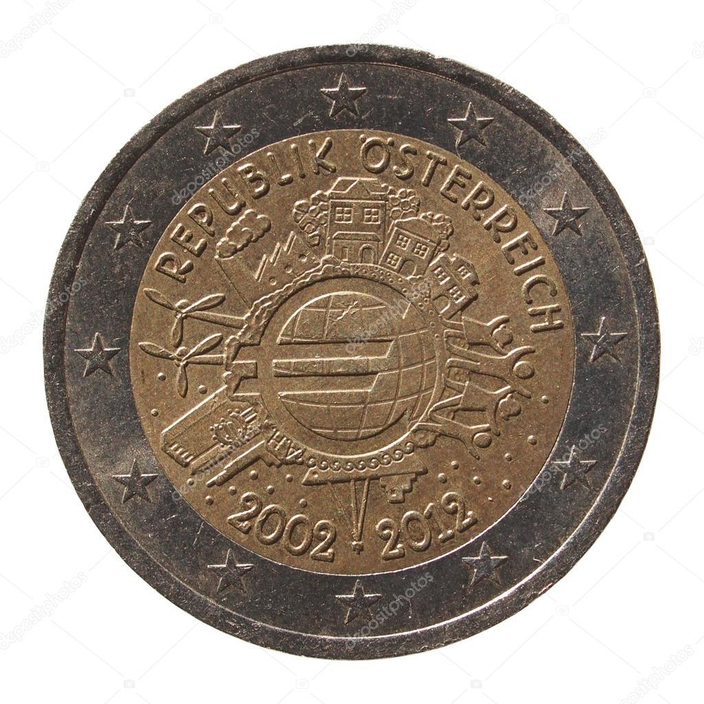 2 Euro Münze Aus österreich Stockfoto Route66 97884996