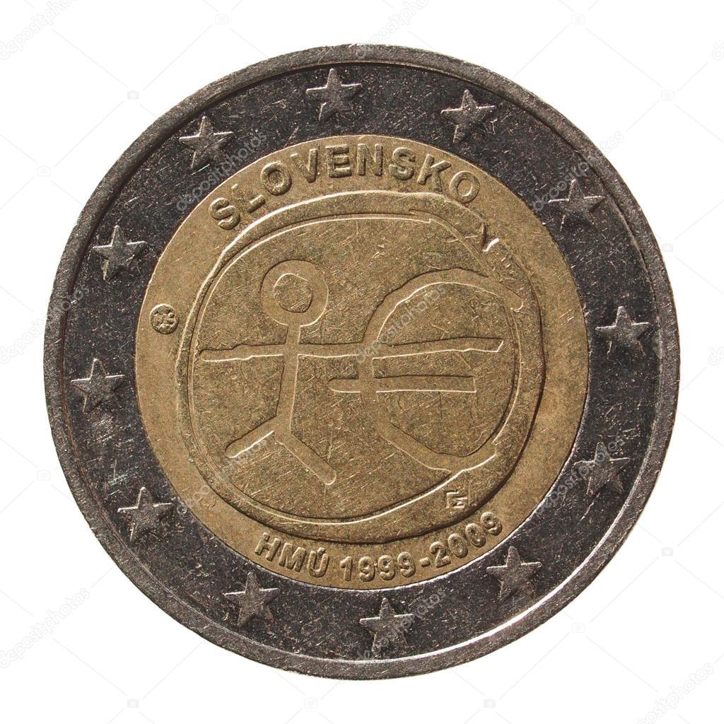 2 Euro Coin From Slovakia Slovensko Stockfoto Route66 97884998