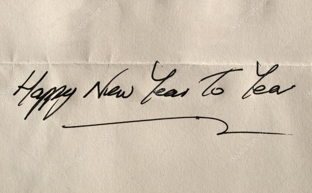 Frohes Neues Jahr Sie Handschriftlich Elegante Englische Zeichen ...