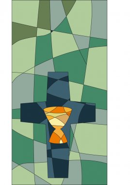 Cross and chalice in mosaic style