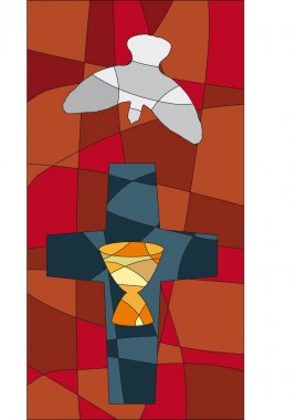 Cross, chalice and dove in mosaic style