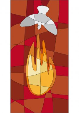 Flame and dove in mosaic style