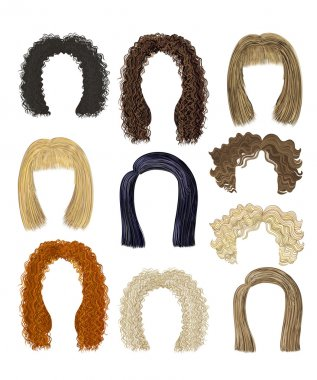 set of different hairstyles. hairs