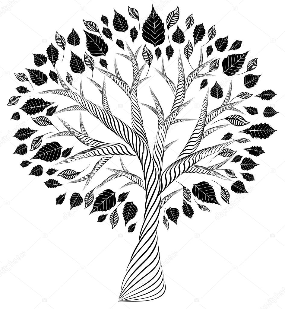 stylized tree.pencil drawing.silhouette.graphic arts