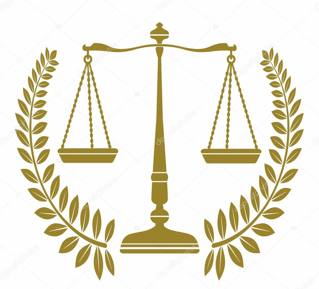 Bilancia Di Icona Con Corona Di Alloro Giustizia Vettoriali Stock
