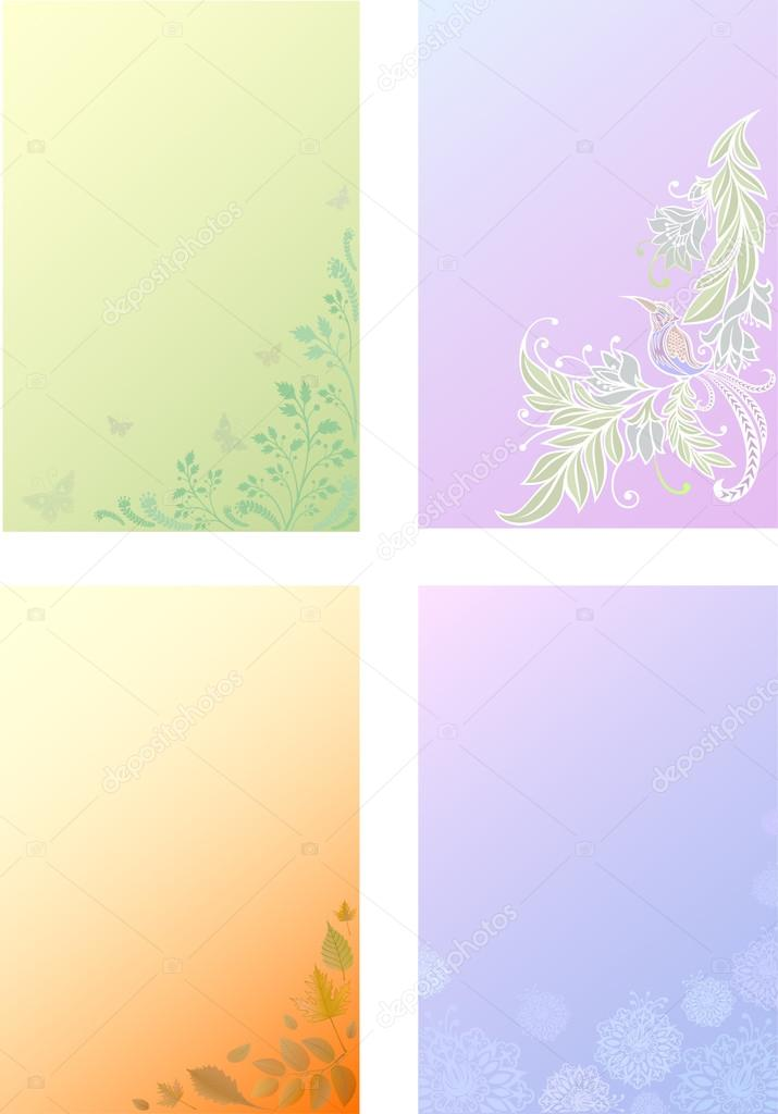 Four seasons. The Weather. Winter. Spring. Summer. Autumn. Natural background.Set of corners.