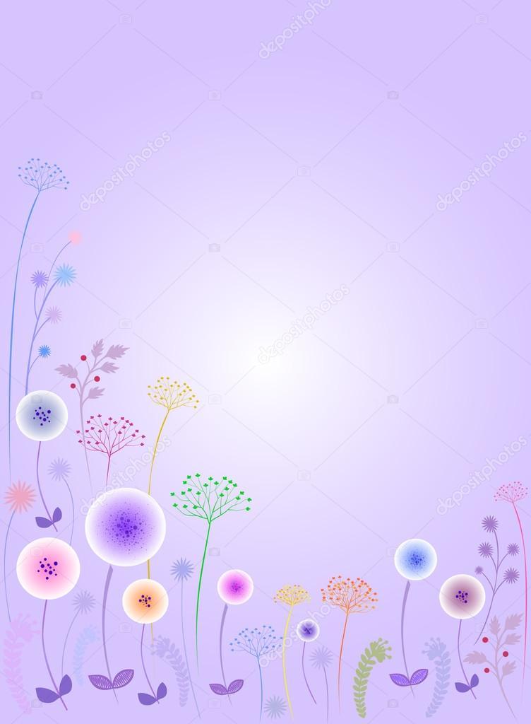 Background.wildflowers.Lilac flowers.Dandelions.