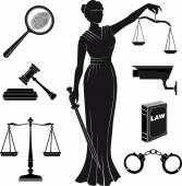 Court.Set of icons on a theme the judicial.law.Themis . justice.lady justice