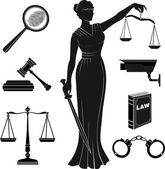 Fotografie Court.Set of icons on a theme the judicial.law.Themis . justice.lady justice