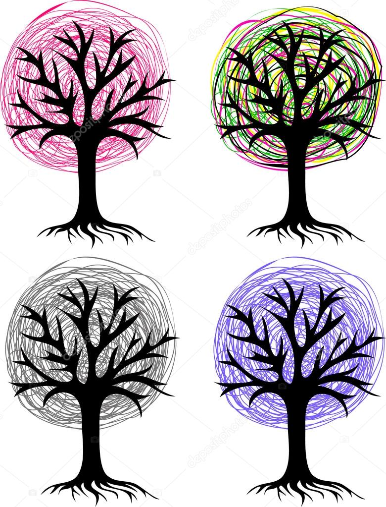 Four stylized trees.pencil drawing.silhouette