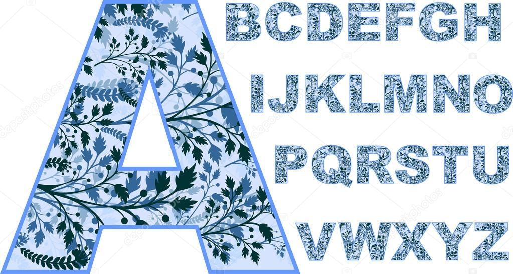 English alphabet.leaves.branches with leaves.Font.