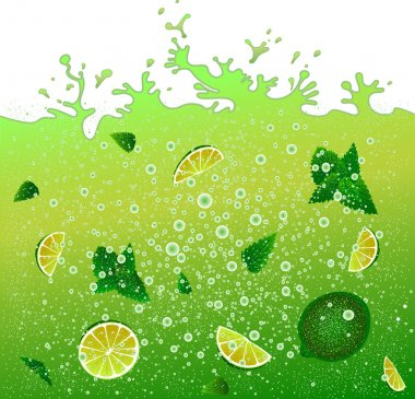 Carbonated cocktail mojito. Advertising banner .Green drink background. Splashes.