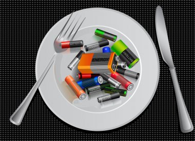 Energy saving. battery on a plate. savings. Sports nutrition. funny creative advertising.