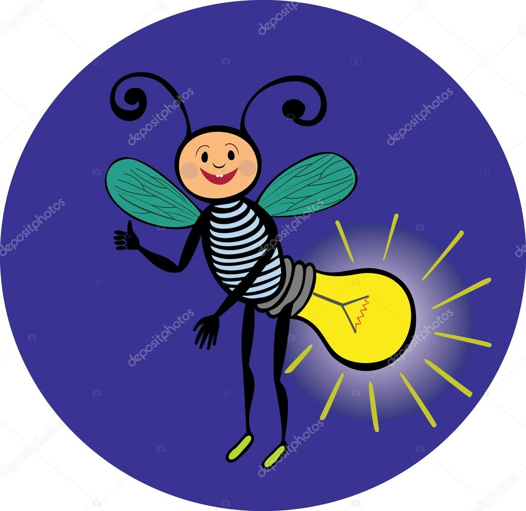 Cheerful glowworm personage. Electricity. The light in the dark. Lamp.