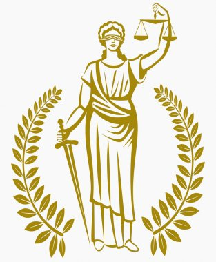 lady justice . Greek goddess Themis . Equality .  fair trial . Law . Laurel wreath .