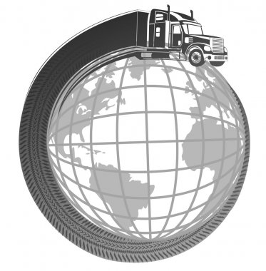 symbol logo truck  around the planet earth.