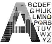 FONT CITYSCAPE skyscrapers.gray black and white .