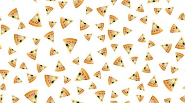 Slice of pizza on a white background, vector illustration, pattern. appetizing, tasty pizza with a variety of paprika, meat, vegetables filling. movie snack, quick lunch. icon