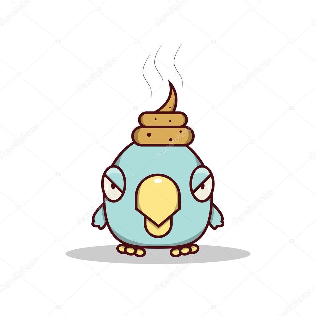 desenhos animados isolado passarinho azul ter sorte na cabeça