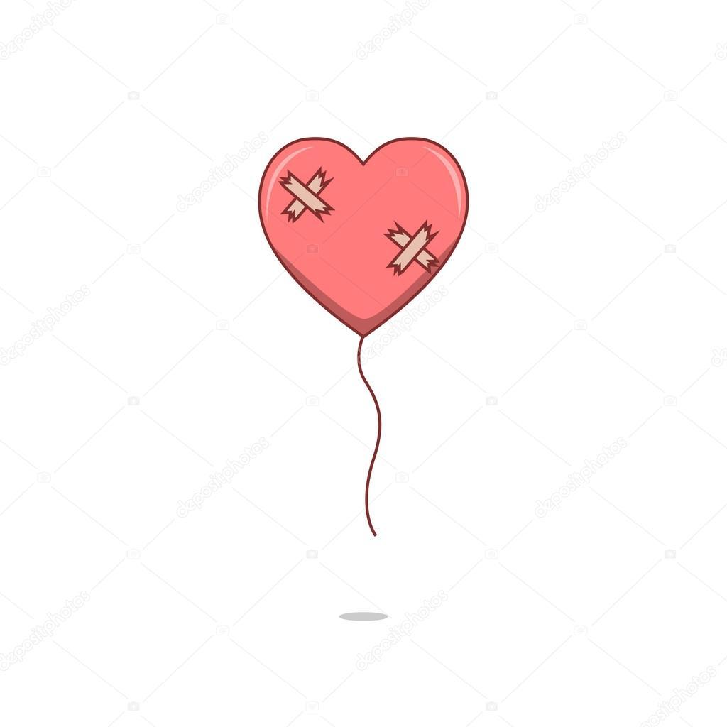 Ballon D Amour Coeur Brise Isoles De Dessin Anime Image