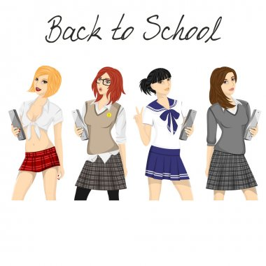 Fashionable school girl vector pack
