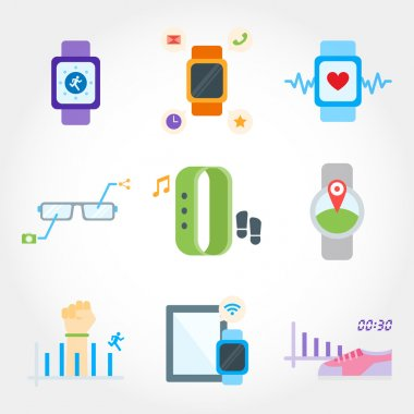 Wearable device flat design icon set
