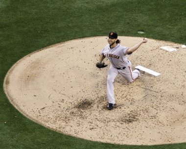 Madison Bumgarner pitches against the Padres.