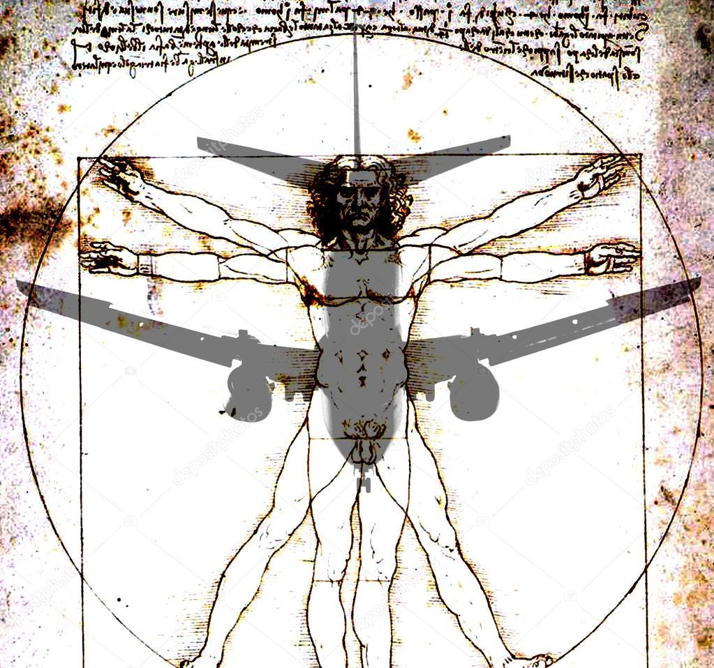 Avión sobre el hombre de Vitruvio de Da Vinci — Fotos de Stock ...