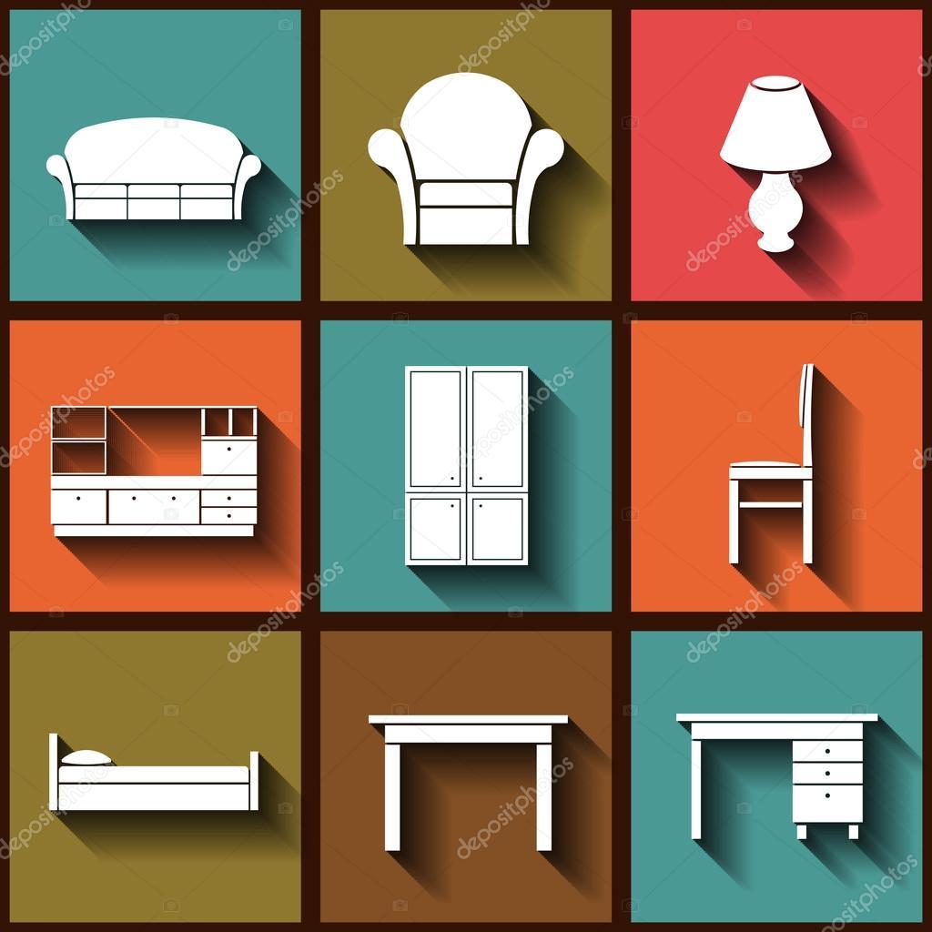 Conjunto De 9 Iconos Planos De Muebles De Casa Vector De Stock  # Muebles De Casa