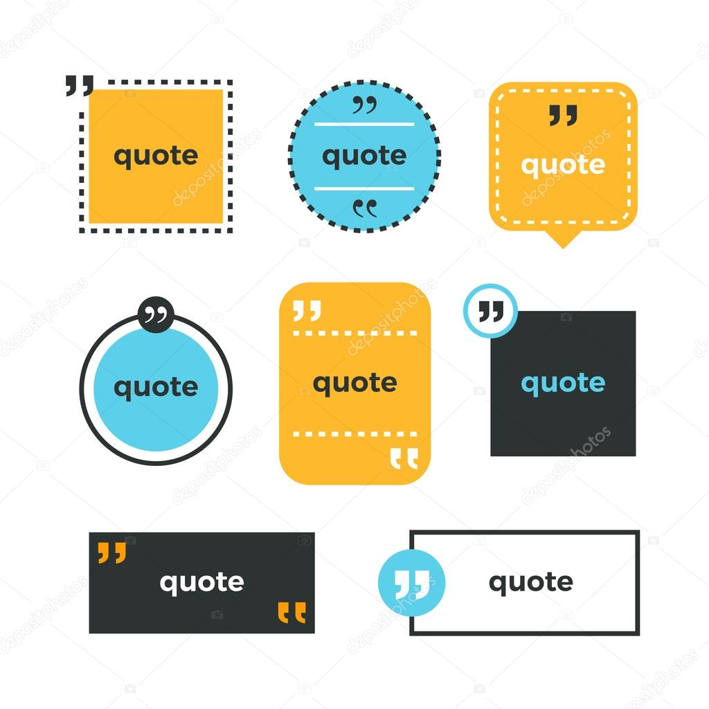 Quotes set quote copyspace template quote bubble business card quotes set quote copyspace template quote bubble business card template color quotes reheart Gallery