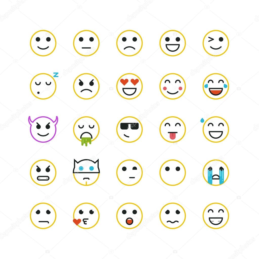 Line Drawing Smiley Face : Set of line art yellow emoticons on white background