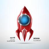 Lesklá červená kovová raketa