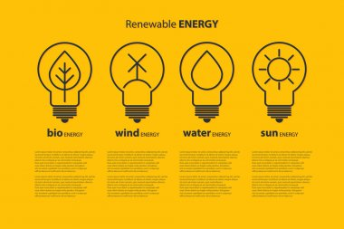 Ecological infographics with yellow bulbs