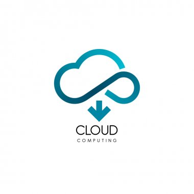 Cloud computing and storage vector logo. Technology design template stock vector