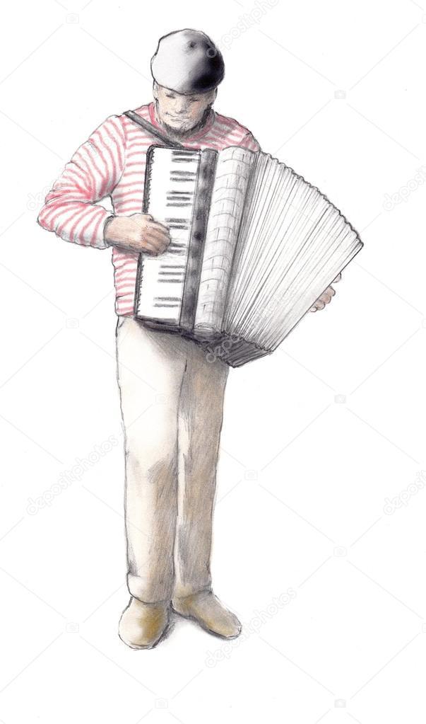 Dessin Accordéon homme jouant un dessin au crayon accordéon — photographie