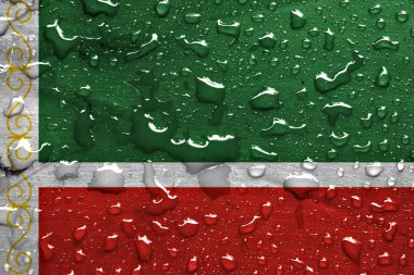 flag of Chechnya with rain drops