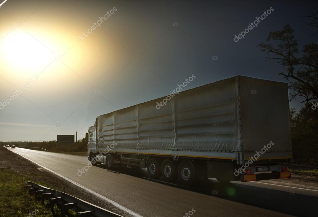 truck on the asphalt road