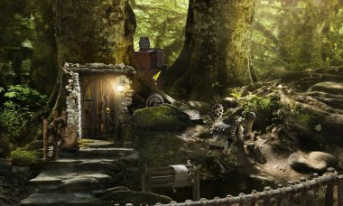 Housing dwarves and elves in a magical forest