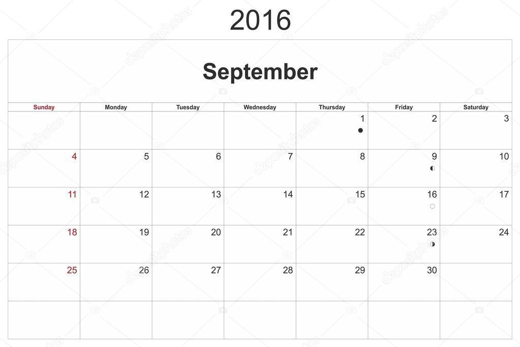 kalendar zari Měsíční kalendář září 2016 — Stock Fotografie © ihorga #97353850 kalendar zari