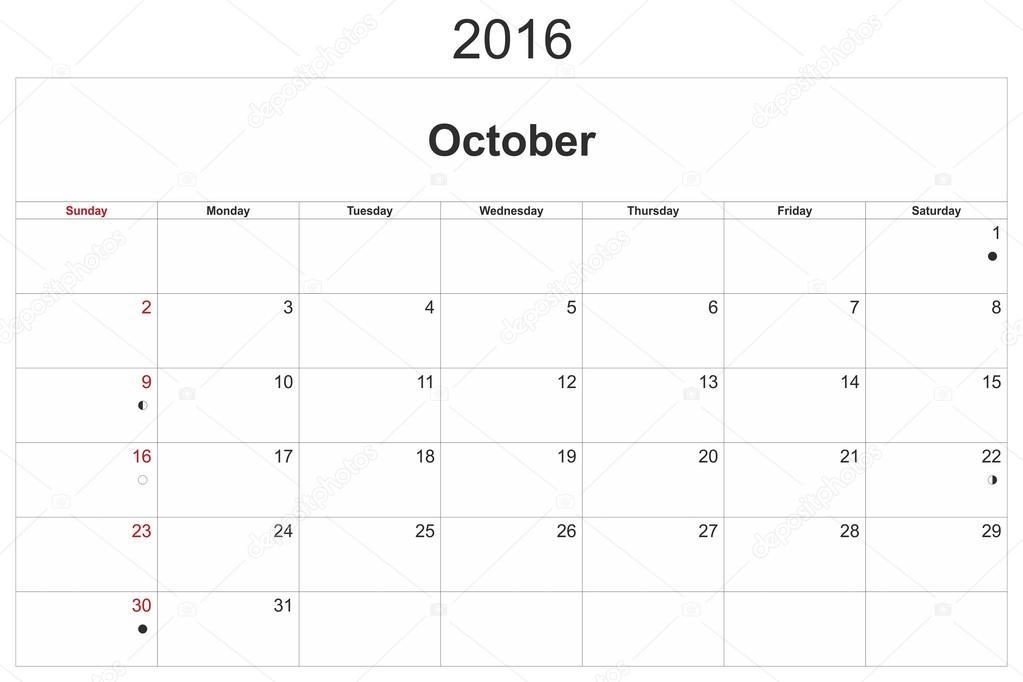 havi naptár Október havi naptár 2016 — Stock Fotó © ihorga #97353852 havi naptár