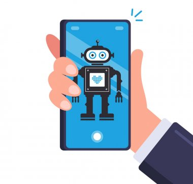 Smart robot in men smartphone. android on a mobile device. flat vector illustration. icon