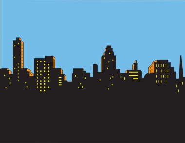Retro Classic City Skyline