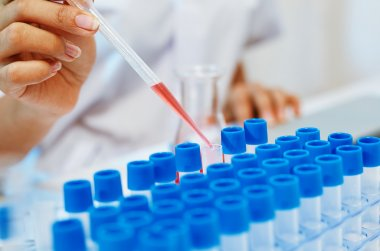 Close up of scientists experimenting and testing chemicals in laboratory stock vector