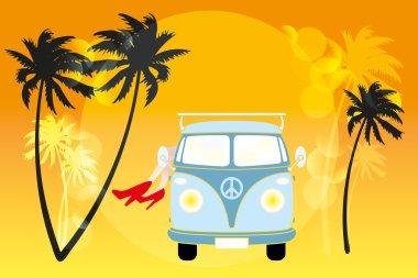 Summer feeling in van under the sun