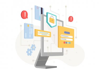 Computer display and data protection and security icons isolated cybersecurity concept. Vector access to personal information privacy, locks and passwords, warning signs. Person authentication icon